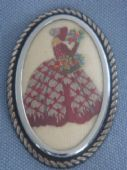 Crinoline Lady Pin - 1940s - 1950s Embroidered Brooch